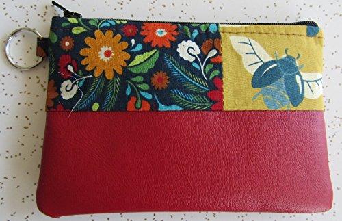 Wallet - Handmade Modern Bee Key Ring Wallet in Red Vegan Leather