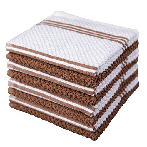Sticky Toffee Cotton Terry Kitchen Dishcloth, 8 Pack, 12 in x 12 in, Brown Stripe
