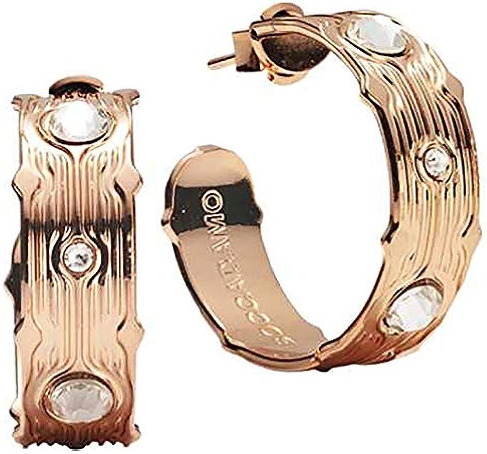 Boccadamo, orecchini per donna,in bronzo placcati oro rosa e cristalli swarovski Xor481Rs