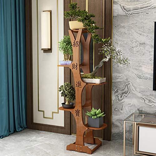 NMDD Soporte de Flores Veranda de Madera Bonsai Rack Pérgola Forma de árbol Estilo Chino (Tamaño: D)