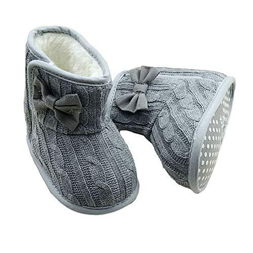 Unbekannt Mädchen Babyschuhe Woll Schuhe Stiefel Strickschuhe Schleife Größe 0-12 Monate (0-6 Monate, Grau)