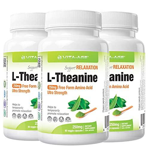 VITA-AGE【3個】L-Theanine Lテアニン 250mg配合 90日分(1日1粒/90粒入) 【海外直送品】