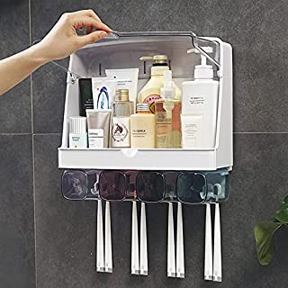 U HOOME Toothbrush Holder Wall Mounted toothbrush holder for bathroom 8 Toothbrush Slots,4 Cups,Waterproof and Dustproof f...