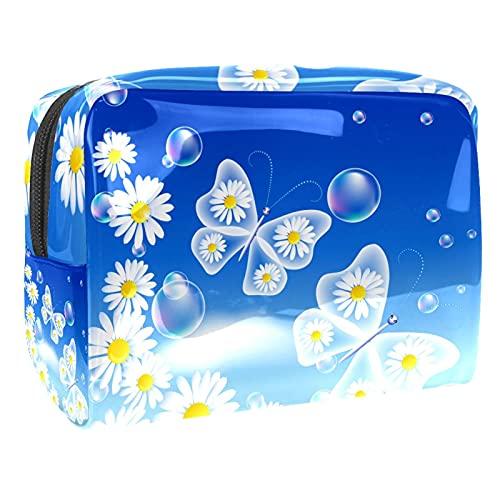 Bolsa de cosméticos para Mujeres Mariposas Transparentes Margarita Cielo Azul Bolsas de Maquillaje espaciosas Neceser de Viaje Organizador de Accesorios
