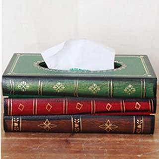 BREIS Tissue Cover, Antique Decor Tissue Box Holder Antique Book Tissue Holder Dispenser Novelty Napkin Holder Retro Wooden Home Decor Tissue Holder Napkin Box (Black)