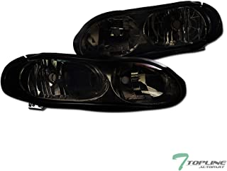 Topline Autopart Smoke Clear Housing Headlights NB For 98-02 Chevy Camaro