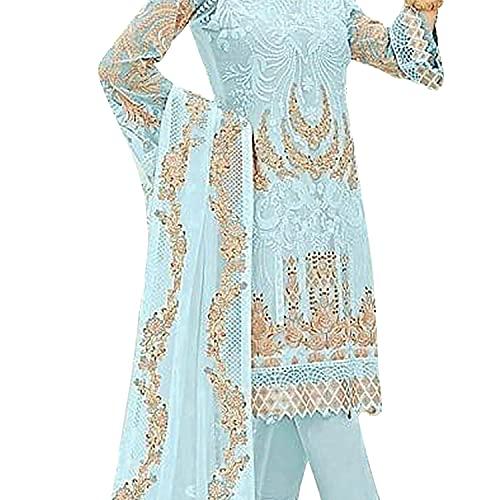 Shampysky Women's Faux Georgette Semi Stitched Top With Unstitched Santoon Bottom and Nazmin Dupatta Embroidered Straight Kurta Dress Material (Pakistani Salwar Suit)