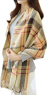 Fseason Women's Poncho Macrame Button Wrap Poncho Pashmina Plaid Soft Scarf