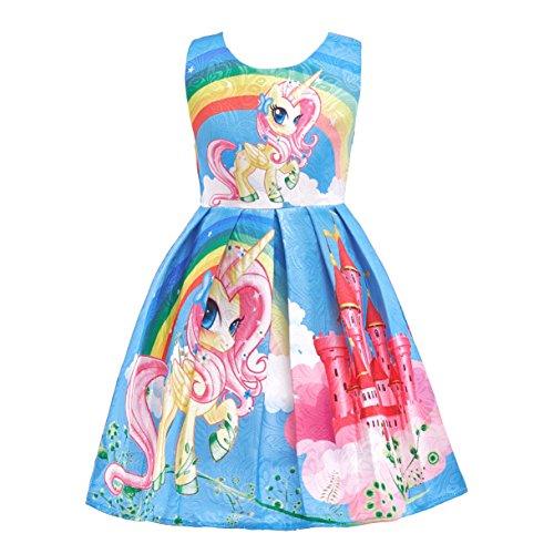 Lito Angels Kleine Mädchen Regenbogen Einhorn Kleider Kostüm Schick Ankleiden Outfit Halloween Party 9-10 Jahre Blau C