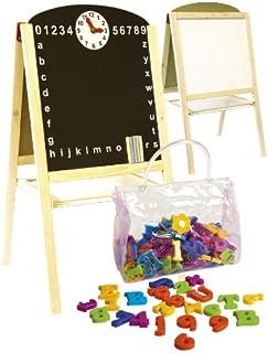 comprar comparacion Leomark Pizarra Magnética De Madera 2 En 1, Juguete Educativo para Niños con Accesorios y Reloj