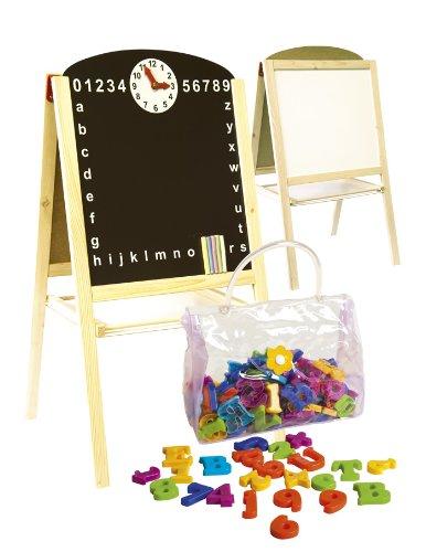 Leomark Pizarra Magnética De Madera 2 En 1, Juguete Educativo para Niños con Accesorios y Reloj