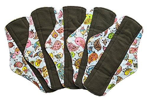 5 Pieces Charcoal Bamboo Mama Cloth/Menstrual Pads/Reusable Sanitary Pads (Regular (10 inch), Bloom)