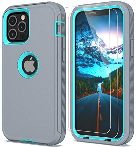 SunRemex Sports and Gaming Case Compatible with iPhone 12 Case, iPhone 12 Pro Case with Tempered Glass Screen Protector (2 Packs), Convert Sound Hole for iPhone 12/12 Pro 5G(6.1 inch) (Gray-SkyBlue)