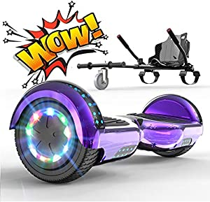 "RCB Hoverboard and kart bundle for kids Segway Built in LED lights Bluetooth Speaker Electric Scooter Board 6.5"" Gift for Kids and Adult"