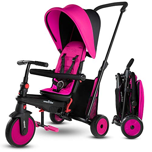 smarTrike STR3 Triciclo pieghevole per bambini, con certificazione per passeggino, per 1,2,3 anni, Rosa
