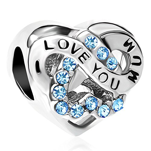Uniqueen I Love You Mum Heart Infinity Bead Charms for European Bracelets