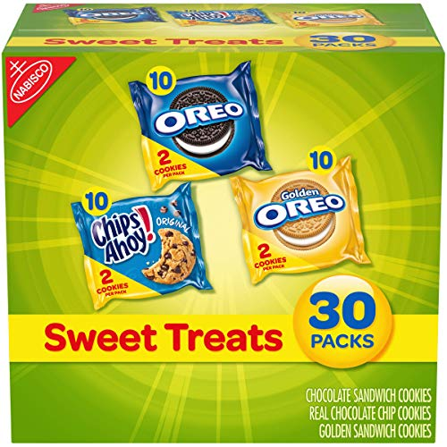 Nabisco Cookies Sweet Treats Variety Pack Cookies - with Oreo, Chips Ahoy, & Golden Oreo - 60 Snack Pack