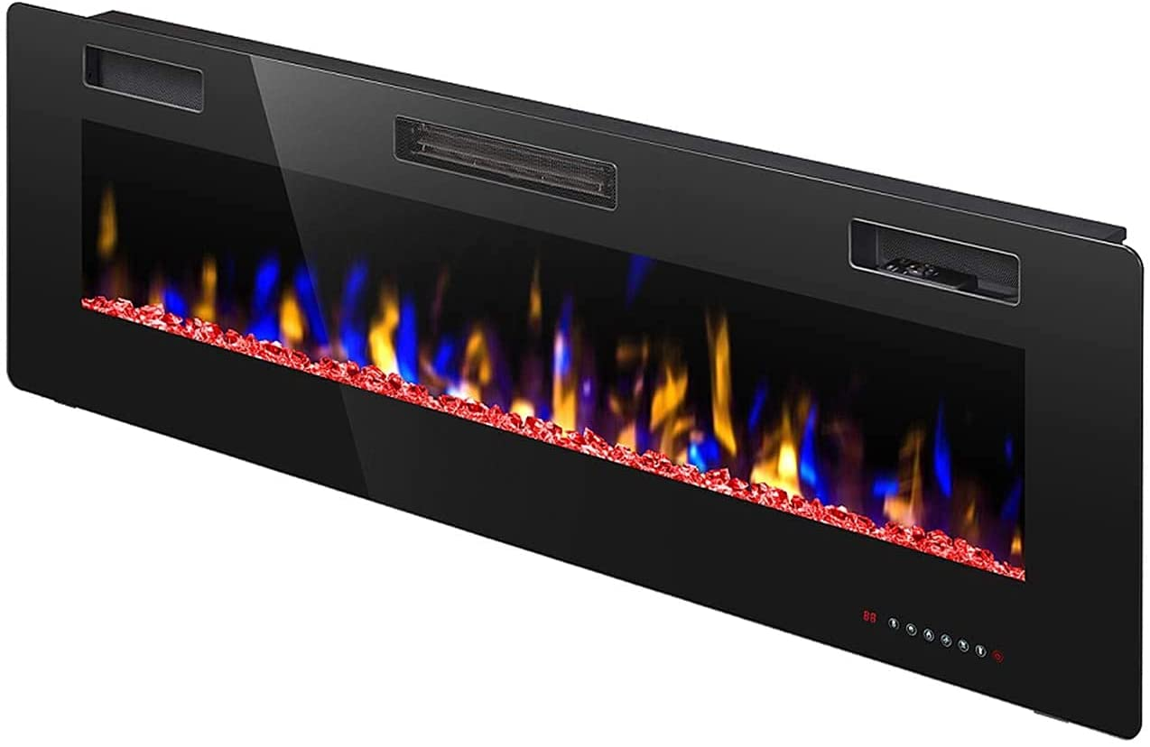 R.W.FLAME 42 inch Recessed and Wall Mounted Fireplace,Low Noise, Fit for 2 x 6 and 2 x 4 Stud, Remote Control with Timer,Touch Screen,Adjustable Flame Speed