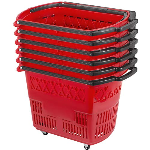 Mophorn 6PCS Shopping Carts, Plastic Rolling Shopping Basket with Wheels, Red Shopping Baskets with Handles, Portable Shopping Basket Set for Retail Store