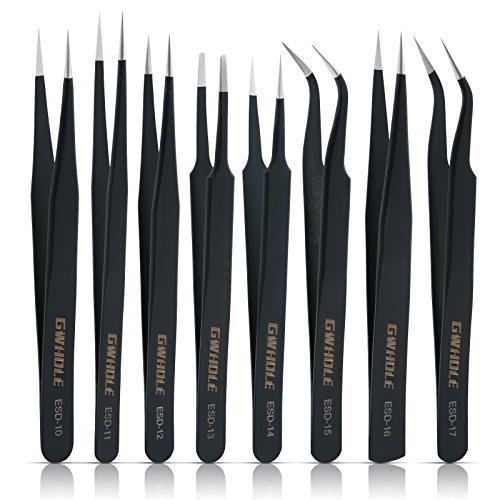 GWHOLE 8 Pcs Precision Anti-Static ESD Stainless Steel Tweezers Set for Electronics, Jewelry, Crafts