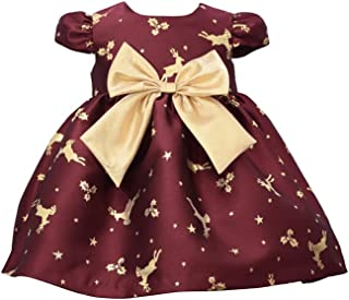 Bonnie Jean Holiday Christmas Dress - Burgundy Reindeer Dress for Baby Toddler and Little Girls