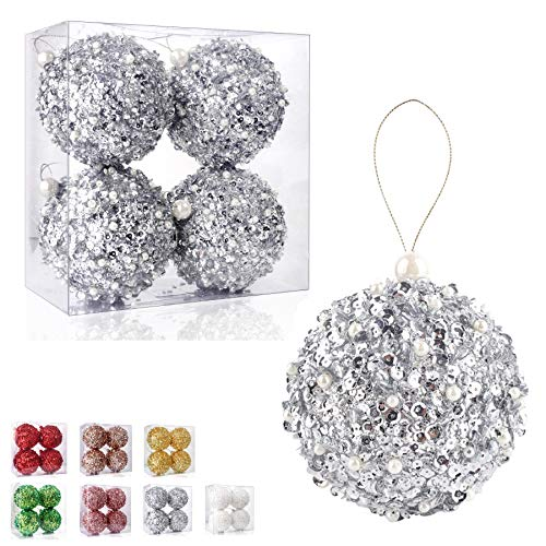 ZHANYIGY 4.25' Christmas Ball Ornaments, 4pc Set Silver Shatterproof Christmas Decorations Tree Balls for Xmas Trees Wedding Party Holiday Decorations (Silver)
