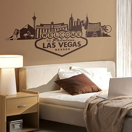 Adesivo murale skyline di Las Vegas che segna il mural della testata della camera da letto con l'adesivo e il casinò più riconoscibile