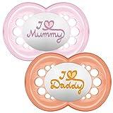 MAM - Conjunto de 2 chupetes escrito: Te amo mamá/papá, con esterilizable...