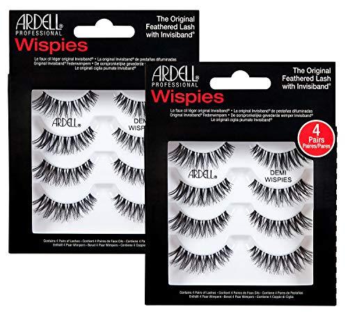 ARDELL Professional Demi Wispies (1 x 4 Paar), 4 Paar,25 g - Wimpern aus Echthaar, schwarz, black (ohne Wimpernkleber) ultraleicht, flexibel und wiederverwendbar (2x)