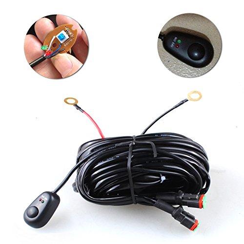 SXMA Kit de faisceau de câblage universel pour barre lumineuse LED 12 V avec fusible relais marche/arrêt pour camion tout-terrain, ATV, bateau