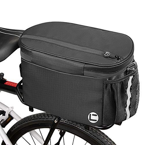 Eyein Fahrrad Kühltasche Gepäckträger, 10L große Kapazität Wasserdicht mit Doppelt Gezippt Seitentaschen für Outdoor Reisen Pendler