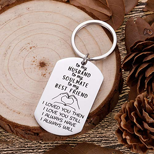to Husband Gifts Valentine Day for Him Men from Wife to My Soulmate Husband Keychain I Love You Anniversary Gifts for Hubby Birthday Wedding Fiance Groom Wedding Gifts Key Chain from her