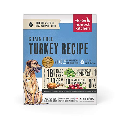 The Honest Kitchen Human Grade Dehydrated Grain Free Dog Food – Complete Meal or Dog Food Topper – Turkey 10 lb (makes 40 lbs)