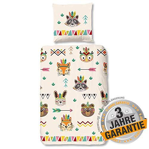 Aminata Kids Bettwäsche Kinder 135x200 Mädchen Baumwolle Indianer-Motiv für Jungen & Jugendliche - Kinderbettwäsche-Set mit Reißverschluss - gelb, beige - Fuchs, Wasch-Bär, gelb - Zelt