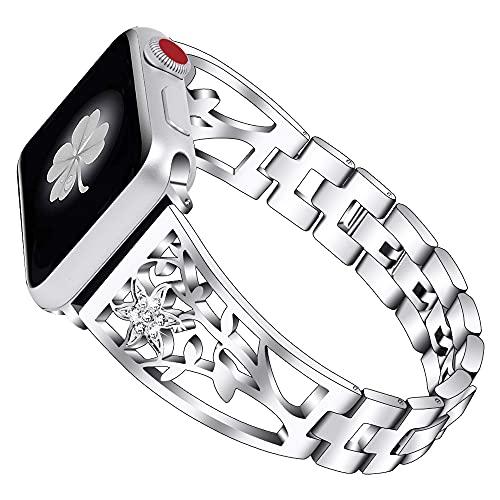 CHENPENG Correa Compatible con Apple Watch Pulsera de Metal Brillante Banda de Metal Brillante Ajustable con Pulsera de Diamantes de imitación,Plata,38MM