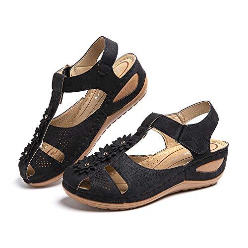 Sandalias Mujer Cuña Comodas Mules Planas Sandalia Cerrada con Pulsera Tacon Casual Zapatos de Playa Retro 4 Negras 39 EU