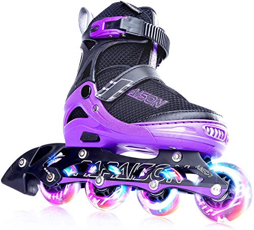 PAPAISON Adjustable Inline Skates for Kids and Adults with Full Light Up...