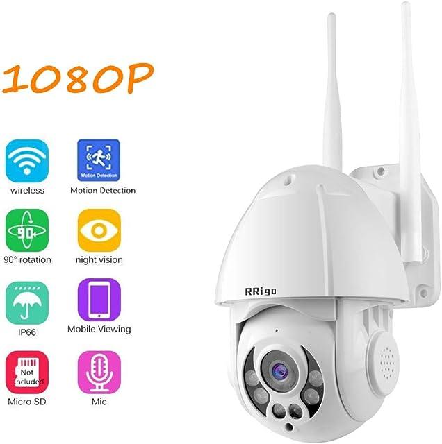Cámara IP Exterior Cámara de Vigilancia wifi IP66 Impermeable Seguridad Inalámbrica Cámara HD 1080P /Audio Bidireccional/Detección de Movimiento Soporte de tarjeta SD