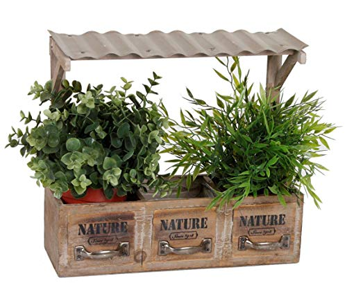 Spetebo Holz Blumenkasten mit 3 Fächern - Deko Pflanzkasten mit Dach - Retro Blumenregal Kräuterbeet Blumentopf für Fensterbank etc.