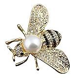 SENYON ゴールドカラー 蜂 ハチ 昆虫 ブローチピン (ゴールド&ホワイト)