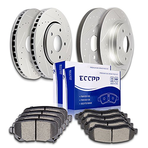 ECCPP Front Rear Brakes Disc Rotor and Ceramic Brake Pad fit for 2008-2012 Chrysler Town & Country, 2008-2012 Dodge Grand Caravan, 2009-2013 Dodge Journey, 2012 Ram C/V, 2009-2012 Volkswagen Routan