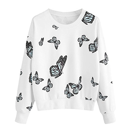 iHENGH Women Butterfly Printing Long Sleeve Casual Sweatshirt Pullover Tops Blouse(Weiß, L)