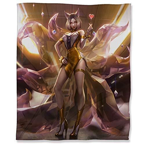 ARYAGO Manta para videojuegos, 100 x 130 cm, de la Liga Legends, de microfibra ligera, antiestática, KDA Ahri Prestige Edition