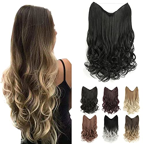 GIRLSHOW Halo Synthetic Hair Extensions 24 Inch 4.8 Oz Curly Wavy Long Invisible Transparent Wire Adjustable Size Heat Resistance Fiber No Clip Hairpieces for Women (Off Black -#118, 24 Inch) -  MAYSA