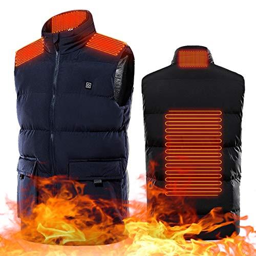 BEP Chaleco Calefactable para Hombre, 4 Zonas De Calentamiento USB Chaqueta Calefactada Cálida Fría E Impermeable para Motocicleta Al Aire Libre En Moto De Nieve,Azul,6XL