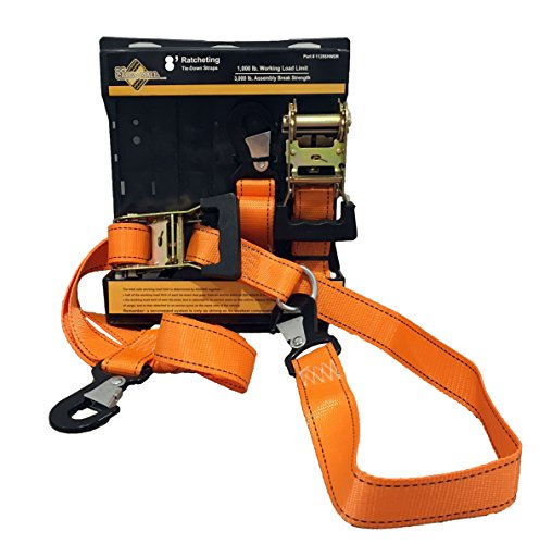 Lowest Prices! 2 Heavy Duty Motorcycle Ratchet Tie Down Straps, 8' x 1-1/2 Safety Snap Hooks & Sof...