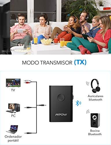 Mpow Receptor BH 283 Transmisor, Emisor Inalambricos de Audio de para TV, PC, MP3, Adaptador Bluetooth de Coche, Altavoz, Apoyo Baja Latencia, Interruptor Deslizante para Fácil de Usar