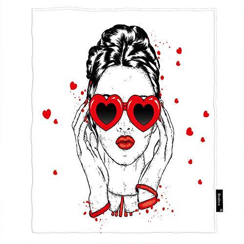 Seemuch Manta sexy para mujer en forma de corazón con diseño de labios rojos y pelo largo, romántico, suave, cálida, de franela para dormitorio, oficina, hogar, sofá, cama, 152 x 200 cm