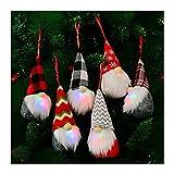 USMEI 6 Pack GNOME Adornos de Navidad, Scandinavian Santa Elf, Colgando Santa Muñeca de Peluche con LED, Hecho a Mano Sueco GNOME, Árbol de Navidad Decoraciones Colgante para Chimenea al Aire Libre