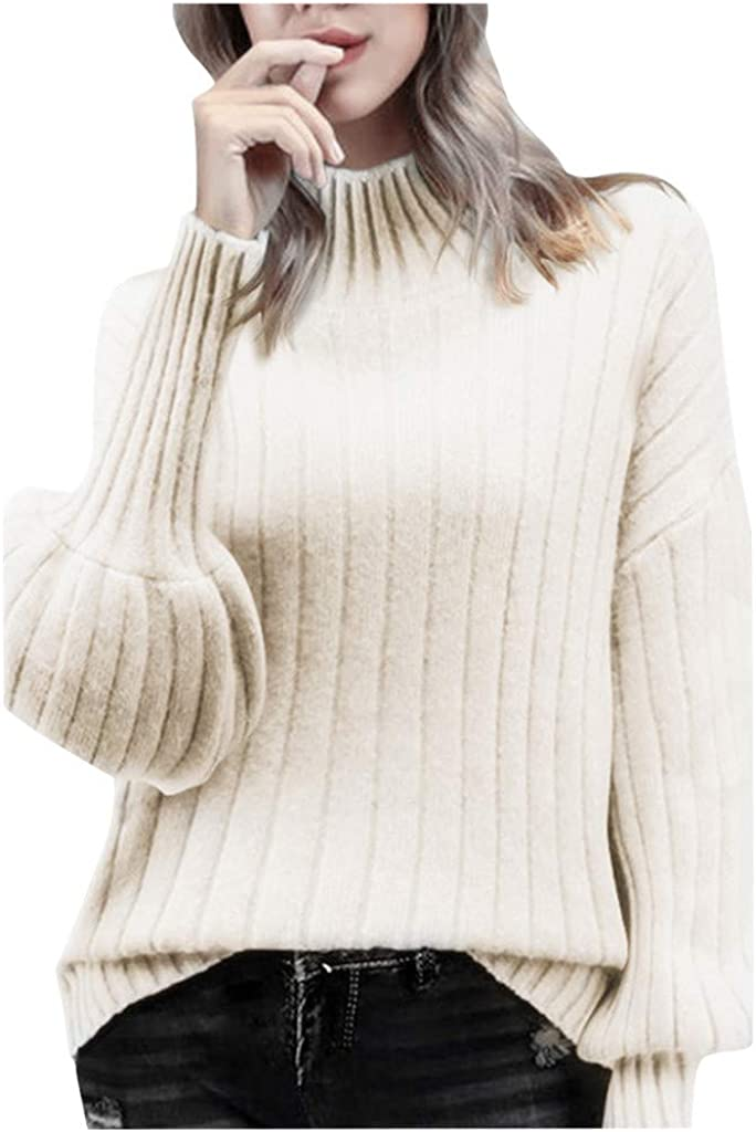 FABIURT Women's Turtleneck Puff Sleeve Sweater Solid Color Loose Pullover Sweater Knit Jumper Tunic Tops